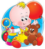 Baby with toys. Illustration for children. A series Baby Stock Images