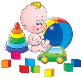 Baby with toys Stock Photo