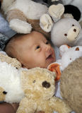 Baby and toys 2. A 3 month old baby surrounded by cuddly toys stock photos