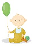 Baby with a toys. Child with a toys: balloon, teddy bear and a ball Stock Photo