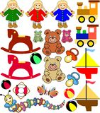 Baby Toys. Collection of toys in different sizes and colors. Useful for advertisement, offers, print and web. Available as Illustrator-file Stock Photos