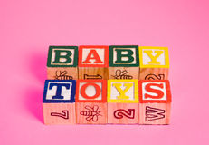 Baby Toys. The words baby toys spelled using baby blocks Royalty Free Stock Image