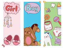 Baby toys banner cartoon family kid toyshop design cute boy and girl childhood art diaper drawing graphic love rattle stock illustration