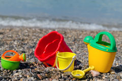 Baby toys. On the beach near the water Royalty Free Stock Image