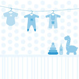 Baby toys and clothing set Stock Photography