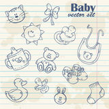 Baby toys cute cartoon set on notepaper. Grunge paper sheet background Stock Images