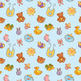 Baby toys cute cartoon set seamless pattern Royalty Free Stock Image