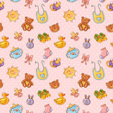 Baby toys cute cartoon set seamless pattern Stock Photos