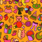 Baby Toys and Elements Seamless Pattern Royalty Free Stock Images