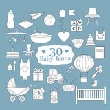 Baby, toys, feed and care. Big Web icon set. Big Web icon set. Baby, toys, feed and care. 30 ready to use isolated icons Royalty Free Stock Photos