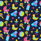 Baby toys flat seamless vector pattern Stock Image