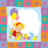 Multicolor childrens background with baby and toys. Frame Stock Image