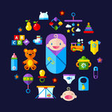 Baby toys icon set. Set of vector icon set baby toys, feeding and care Stock Photos