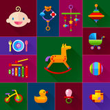 Baby toys icon set Royalty Free Stock Photos