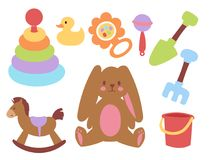 Free Baby Toys Icons Cartoon Family Kid Toyshop Design Cute Boy And Girl Childhood Art Diaper Drawing Graphic Love Rattle Fun Stock Photos - 113150063
