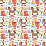 Baby toys icons cartoon family kid toyshop design cute boy and girl childhood art diaper love rattle seamless pattern. Baby toys icons cartoon family kid toyshop stock illustration