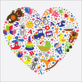 Baby toys icons in heart.Set collection Royalty Free Stock Photo