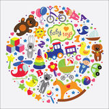 Baby toys icons.Set collection. A set of cute items of toys for a small child. Baby cartoon icons for little girl and boys . Set of children's toys,rattle,nipple Royalty Free Stock Photo