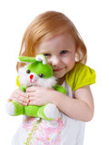 Baby with toys isolated on white Stock Photography