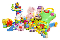 Baby toys. Many colorful baby toys isolated on a white background Royalty Free Stock Photography