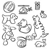 Baby Toys Outline Sketched Doodles Stock Photo