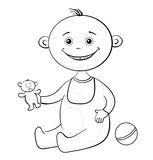 Baby with a toys, outline Stock Photo