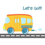 Baby toys pattern in doodle style. Cartoon bus on the road. Royalty Free Stock Photo