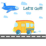 Baby toys pattern in doodle style. Cartoon bus on Royalty Free Stock Images