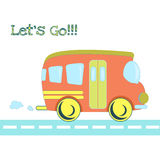 Baby toys pattern in doodle style. Cartoon bus on Stock Images