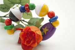 Baby toys with red rose Stock Images