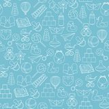 Baby toys seamless pattern on blue background Stock Photography
