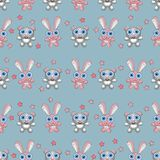 Baby toys seamless pattern. Teddy bear and bunny. Child concept clothes texture. Baby toys seamless pattern. Teddy bear and bunny. Child concept clothes texture royalty free illustration