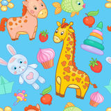 Baby toys seamless pattern vector animal background. Royalty Free Stock Images