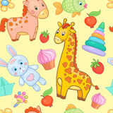 Baby toys seamless pattern vector animal background. Royalty Free Stock Photo