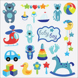 Baby toys set collection for little boy Royalty Free Stock Photos