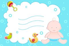 Baby with Toys sitting on Abstract background Stock Photography