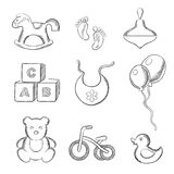 Baby and toys sketched icons set Stock Photography