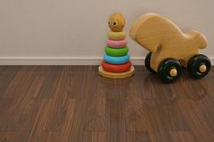 Baby toys on wooden floor 3D illustration. Baby toys on wooden floor 3D illustration royalty free illustration