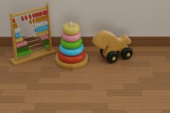 Baby toys on wooden floor 3D illustration. Baby toys on wooden floor 3D illustration vector illustration