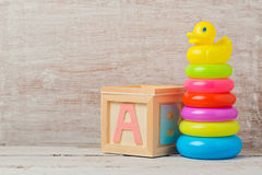 Baby toys on wooden table. Child development. Concept Royalty Free Stock Photos