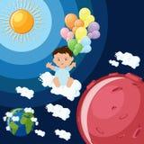 Baby träumt, um zu Mars auf Wolken und Ballonen zu fliegen Stockfotografie