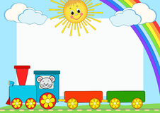 Baby train. Children photo framework. Royalty Free Stock Photos
