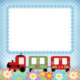 Baby train children photo framework on blue Stock Photos
