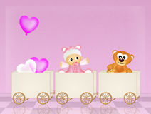 Baby on train Royalty Free Stock Photos