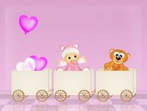 Baby on train Royalty Free Stock Photos