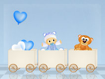 Baby on train Royalty Free Stock Images