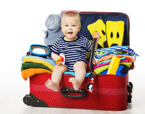 Baby in Travel Suitcase, Kid Sitting Vacation Luggage, Child Royalty Free Stock Photography