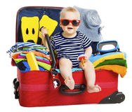 Baby Travel Vacation Suitcase. Kid in Packed Luggage, Family and Stock Image