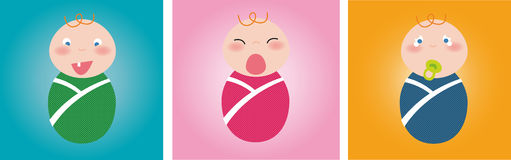 Baby Trio. Illustration of cute babies laughing, crying and yawning Royalty Free Illustration