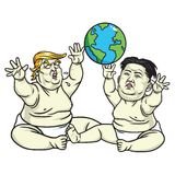 Baby Trump and Kim Jong-un Playing the Globe. Cartoon Illustration. May 25, 2017 Royalty Free Stock Photo